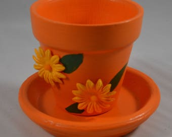 Closeout Designed Small Hand Painted Flower Pot - Assorted Color Options!