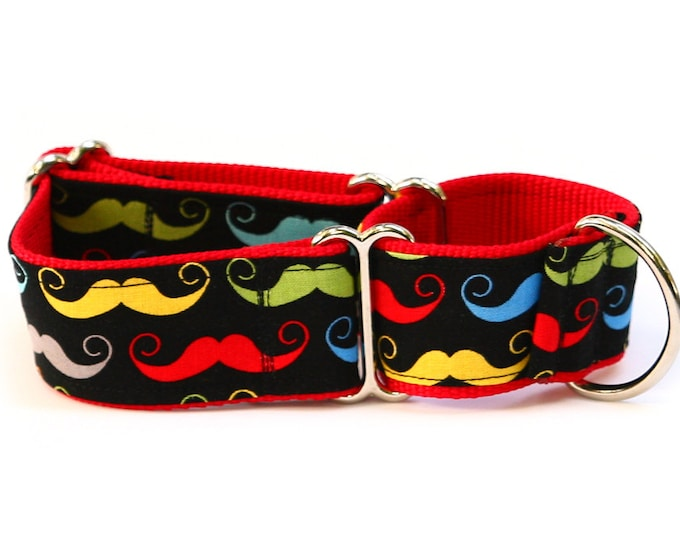"Whippet Dog Collar - Dapper Dog Bright Mustaches - 1.5"" Martingale Dog Collar"