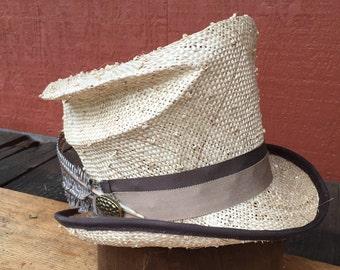 Top hat, Straw Top hat, Men Top Hat, Mad Hatter, Women Top Hat, Alice in Wonderland Steampunk Top Hat