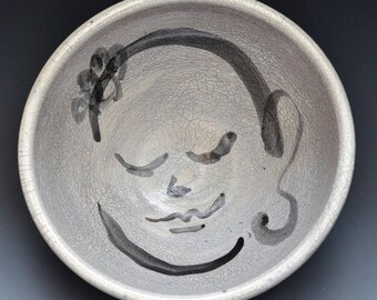 Big Buddha Bowl Perfect for Soup or Porridge in Raku Ceramics Black and White Crackle Glaze 2