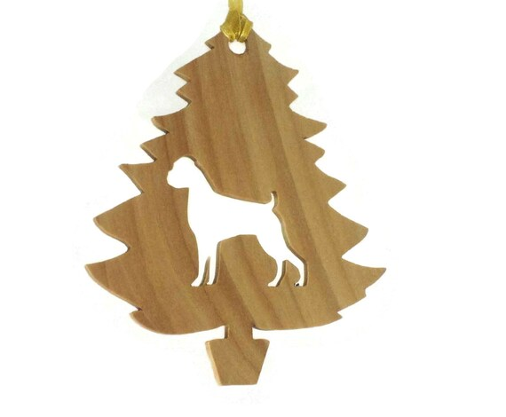 Boxer With UnCropped Ears Christmas Ornament Handmade From Basswood