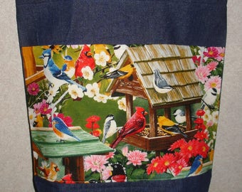 New Handmade Large Backyard Bird Feeder Denim Tote Bag