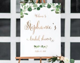 Bridal Shower Welcome Sign, Bridal Shower Poster, Bridal Shower Sign, Greenery Bridal Shower Sign , Bridal Shower Welcome Poster
