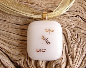 Gold Dragonfly Fused Glass Pendant Necklace, Sparkling Gold Decals on White Glass