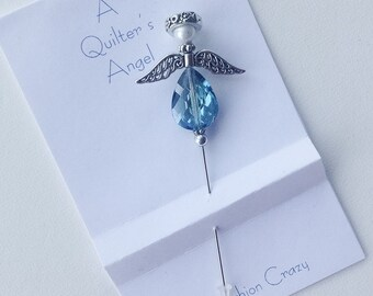 Blue Green Angel Pin - Quilter's Angel Stick Pin - Gift for Quilter - Lapel Pin - Guardian Angel - Pincushion Pin - Girlfriend Gift - Sweet
