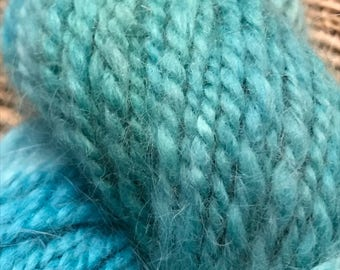 Under the Sea, Handspun and Hand dyed 100% German Angora Yarn, blue green teal colorway