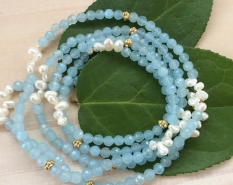 Blue Agate Gemstone and White Pearl Necklace/Wrap Bracelet on Elastic Cord
