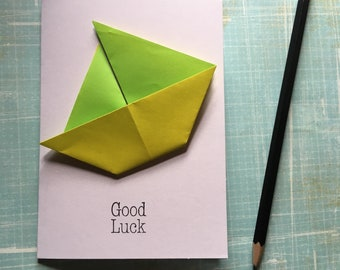 Origami greeting card - green and yellow sailing boat 'good luck'