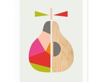 Geometric Pear Scandinavian Art, Scandi Art, Scandi Pear, Modern Wall Art, Modern Nursery Decor, Kids room art, Scandi Art