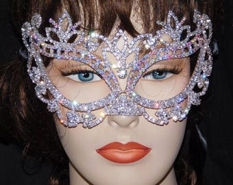 Silver With AB Rhinestone Crystal Masquerade Mask Mardi Gras Party /Black Ribbon