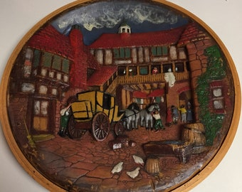 Vintage 3D Hand Carved and Hand Painted Rare Round Wax Picture City Square Scene