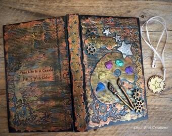 Personalized Sketchbook, Steampunk Sketchbook, metallic Sketchbook, Custom Sketchbook, Polymer Clay Sketchbook, Blank book