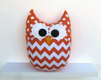 Large Chevron Owl Pillow Orange Zig Zag Nursery Decor Ready to Ship