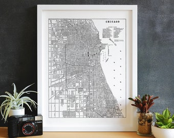 Chicago Map Art, Map Print, City Map Art, City Canvas Map, Chicago Wall Art, Chicago Decor, Chicago print, Map of Chicago