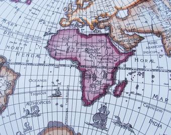 World Map printed Leather fabric piece Globe Wanderlust Fake leather