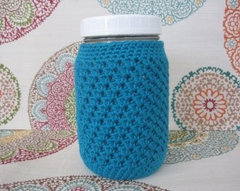 Crochet Mason Jar Cozy - Quart Jar Cover - Bottle Cozy - Quart Mason Jar Sleeve - 32oz Cover - Turquoise Blue - Quart sized - Ball - Teal