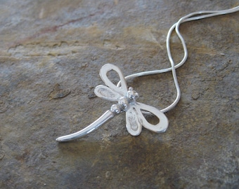 Dragonfly Necklace, Dragonfly Jewelry, Silver Dragonfly. Dragonfly Pendant, Handmade Dragonfly