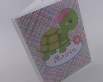 Baby Girl Photo Album Personalized baby album Grandmas Brag book Pink Turtle mothers day gift shower 4x6 or 5x7 138
