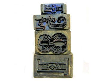 Four Antique Metal and Wood Fancy Printing Blocks Stamps