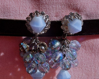 Beautiful Vintage Blue Chandelier earrings.