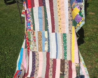 Vintage 60s Hand Quilted Patchwork  Multi Color Floral Cotton  Quilt  72 x 60  Inches