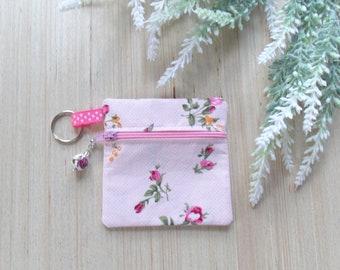 Pink Rose Ear Bud Case - Ear Bud Holder - Rose Earphone Case - Rose Coin Purse