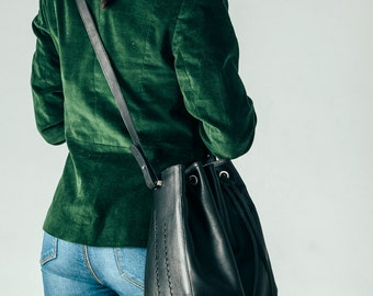 Leather Bucket Bag, Leather Bucket, Drawstring Bag, Bag Bucket