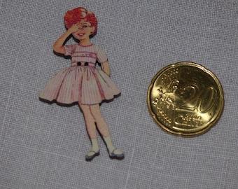 Redhead girl wood button