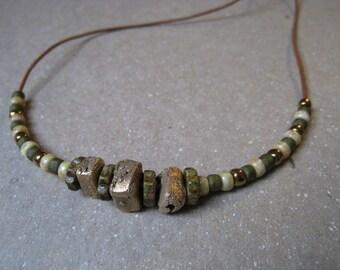 Handmade Rustic Bronze Beads and Seed Bead Necklace - Bronze Necklace - Handmade Beads - Beaded Necklace
