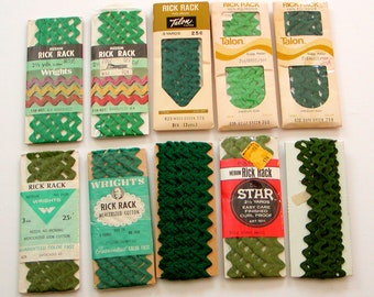 Destash *10* Packages GREEN RICK RACK Medium Trim Cotton & Polyester Vintage Talon Star Wrights Crafts Sewing Flowers Aprons Doll Clothes