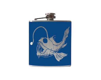Angler Fish Flask- whiskey, liquor, wedding, bridal party, hip pocket- Personalized Custom - YOU pick COLOR