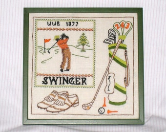 Golf Needlepoint On Off White Linen, 1977 Embroidered Golfer Picture, Vintage Framed Needlework, Approx. 11 x 11