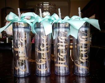 Personalized tumbler, gold wedding, mint wedding, bachelorette party, bridesmaid tumbler