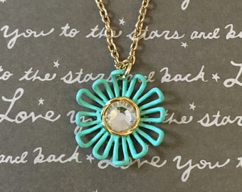 Aqua daisy necklace