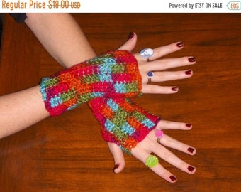 The Southwestern Spirit Fingerless Texting Gloves Handmade crocheted arm warmers Fingerless Texting Mittens. Handcrafted BOhO gypsy Gloves