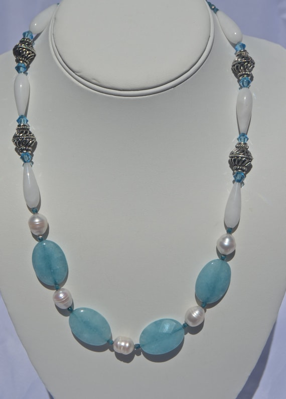 "19"" Aquamarine and Pearl Necklace"