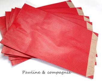 Set of 25 plain kraft red dimension 12 gift bags x 20 cm