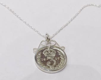 1914 104th Birthday / Anniversary 3D Threepence coin pendant plus 18inch SS chain 103rd birthday, 103rd birthday gift, 103rd gift, 1914