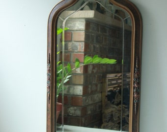Antique Victorian rectangular beveled gilt wall mirror with carved floral design