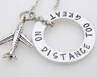 Long Distance Relationship Necklace ldrship LDR Long Distance Love going away gift no distance too great for love handstamped jewelry