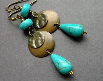 Boho earrings turquoise. drop earrings turquoise. Boho Earrings Dangle. Boho Brass Boho Jewelry. gift for women. gift for her. birthday gift