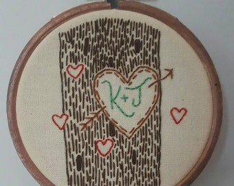 """Initials carved into tree - 3"""" handmade embroidery hoop valentines gift"""