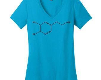 Dopamine Science V Neck Tee Womens Shirt Nerdy Shirt Science Teacher Gift Biology Shirt Chemisty Shirt Chemistry Gear Toxicologist Shirt