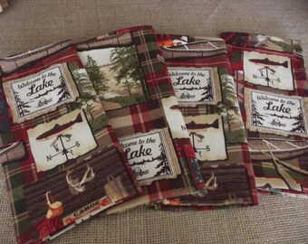 Welcome to the Lake, Red and Green Plaid, Set of Four Handmade Cloth Napkins, Lake Decor, Fabric Napkins, Cotton Napkins, Dinner Napkins