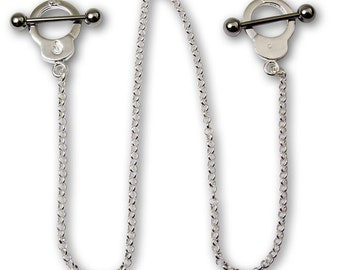 14G (1.6mm) HandCuff Nipple Ring Chain Surgical Steel Nickel Free Wearable Space :11 mm (7/16 '') Chain Measurement 25''