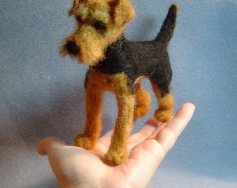 Needle felted dog Custom soft Sculpture Welsh Terrier miniature animal pet likeness