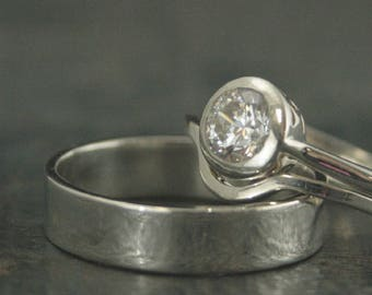 Modern Wedding Set Silver Wedding Band Set Silver Bridal Set Bezel Set Stone Bezel Engagement Ring Flat Wedding Band His and Hers Rings