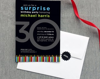 Milestone Surprise (or Non-Suprise) Birthday Invitation, 30th, 40th, 50th, 60th, 70th - Digital File