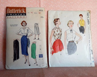 Lot #11, Vintage Sewing Patterns, Butterick 6531 and McCalls 3056