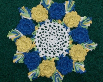 The Rose Hand Crochet  Doily - Blue and Yellow - Lone Star Lace - **NEW**